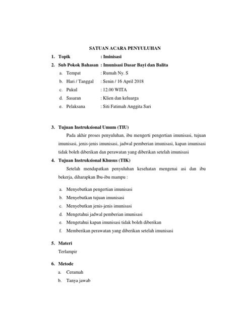 Satuan Acara Penyuluhan 1. Topik: Iminisasi 2. Sub Pokok
