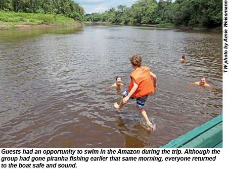 Guests had an opportunity to swim in the Amazon during the trip.