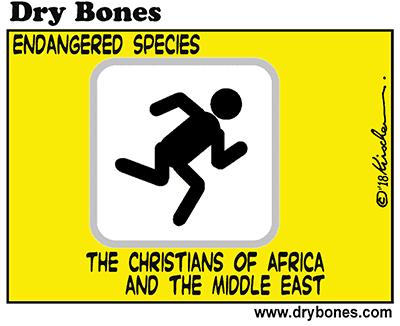 Dry Bones cartoon, Israel, Christians, Africa, Middle East, ethnic cleansing, persecution, Christian, Islamism, Islamic, Terror, Terrorism,