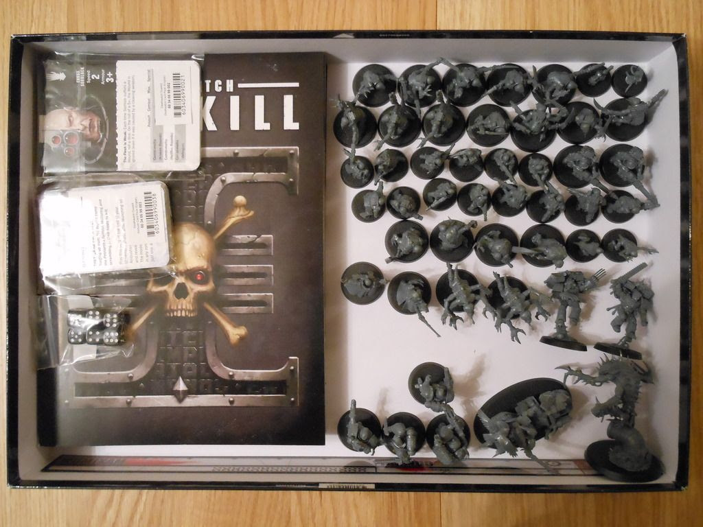 The contents of Deathwatch: Overkill, all fitted inside the box.