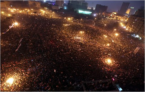 Tens of thousands of people gathered in Tahrir Square in Cairo last week to call for Egypt's military rulers to speed changes and crack down on corruption, one week after Hosni Mubarak resigned as president.
