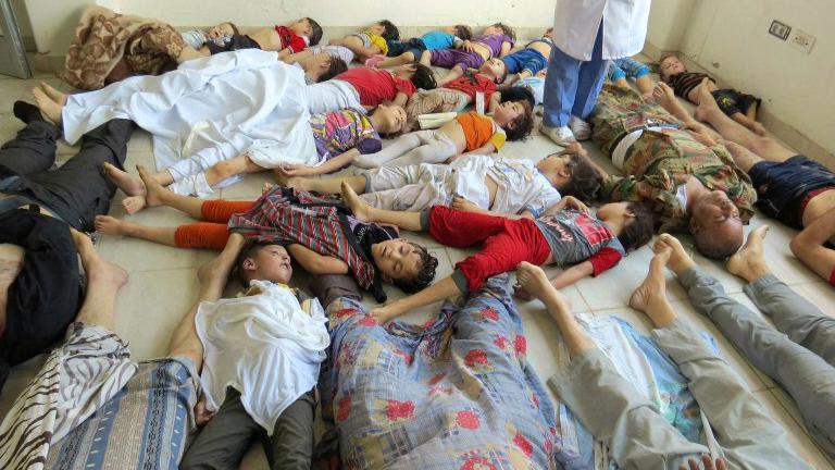 Des victimes allongées dans un hôpital de Damas (Syrie) le 21 août 2013 après l'attaque chimique présumée.