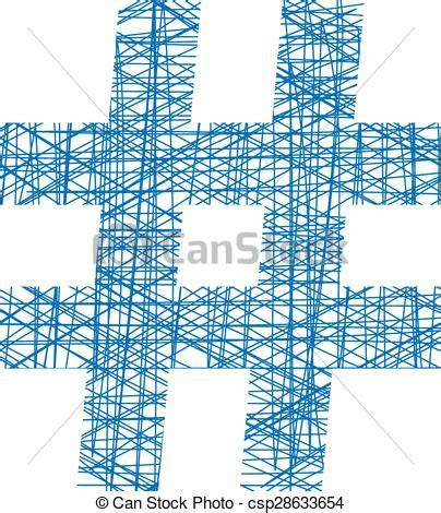 blue hashtag icon  sketch style concept  number sign