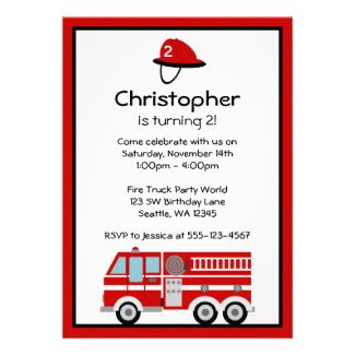 Red Fire Engine and Hat Birthday Party Invitations