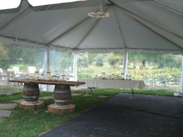 Use this Tulle to soften the interior tent poles for your outdoor wedding or