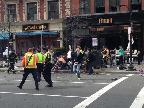 Aftermath of Boston Marathon bomb blast on April 15, 2013. Three people were killed and many more were injured. by Pan-African News Wire File Photos