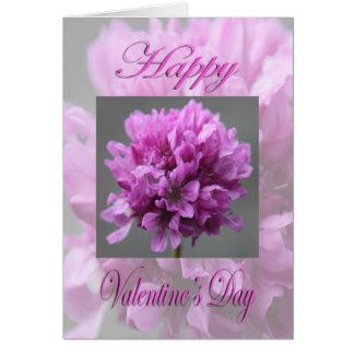 Valentines Day Pink Flower Greeting Card
