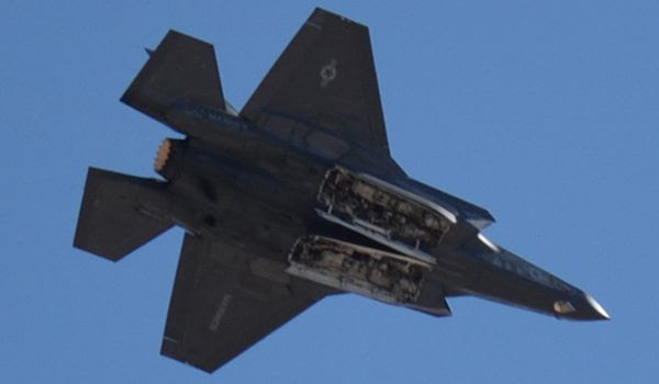 The F-35B Lightning II shows off two of its weapons bays during a demo at the Miramar Air Show...on September 29, 2018.