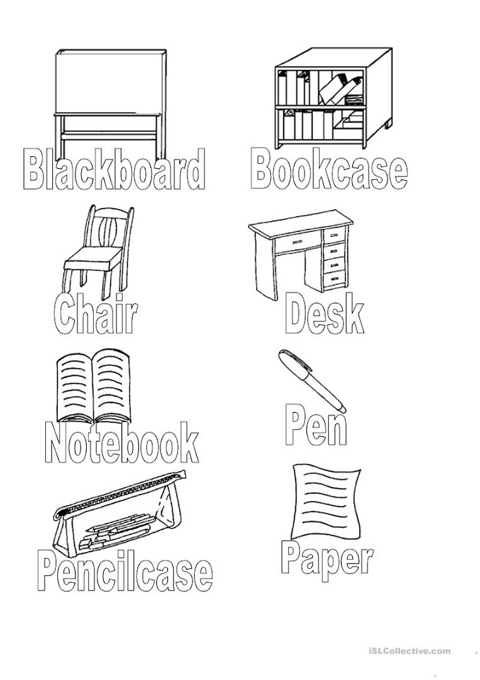 Classroom Objects Coloring Worksheets
