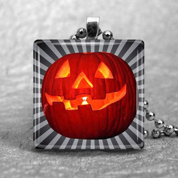 Glass Pendant 1 Inch Square--Jack O Lantern with Stripes