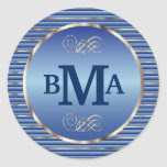 Monogram Initials in Blue & Silver Classic Round Sticker