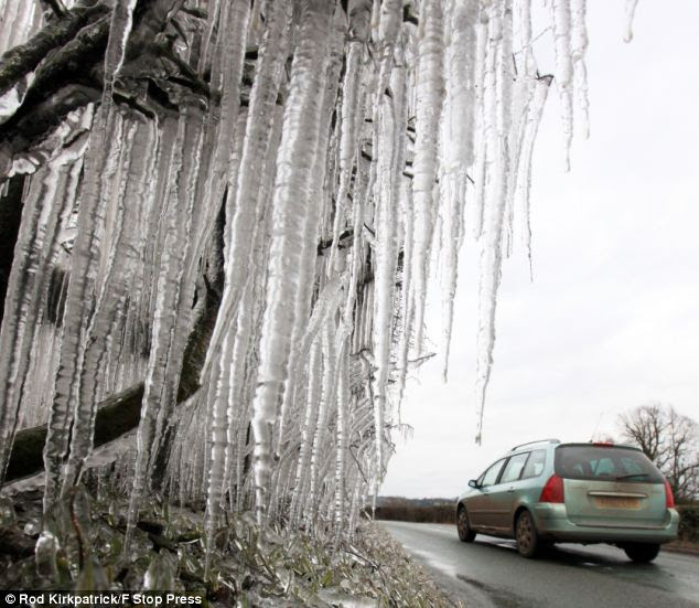 The wintry conditions caused stunning scenes, as huge icicles appeared on the roadside in Staffordshire