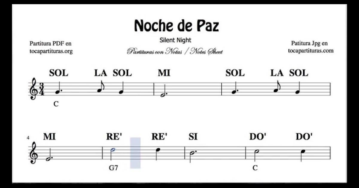Notas Musicales Noche De Paz En Piano Para Ninos Hay Ninos