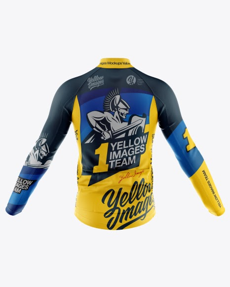Download Free Men's Full-Zip Cycling Jersey With Long Sleeve Mockup ...