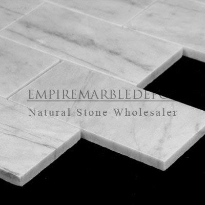 Carrara Marble Italian White Bianco Carrera 6x12 Marble Subway Tile