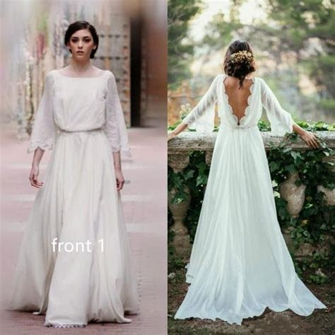 Long Sleeve Lace Boho Backless Wedding Dress   Flosluna