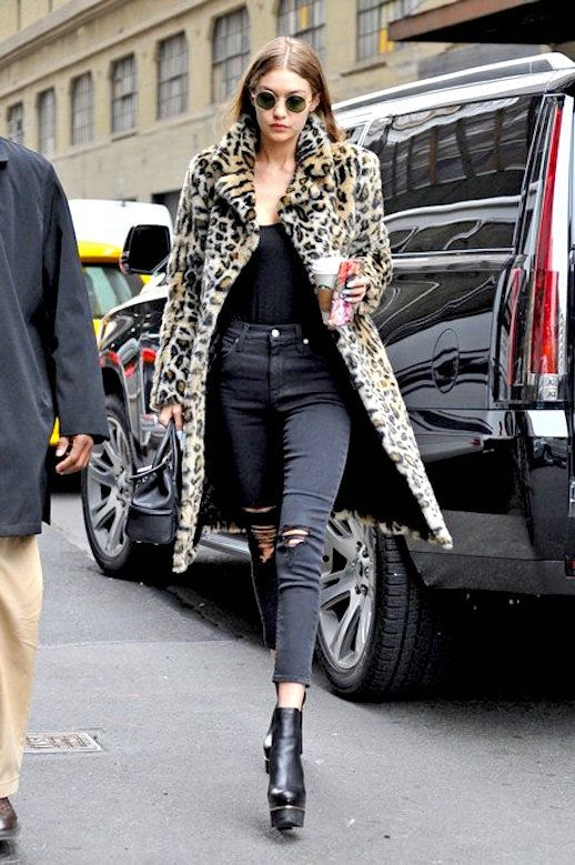 Le Fashion Blog Gigi Hadid Leopard Coat Dark Skinny Jeans Boots Via Vogue