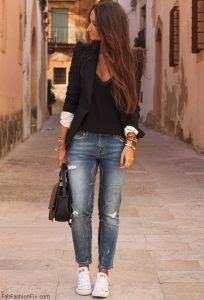 ideas para look casual con zapato flat