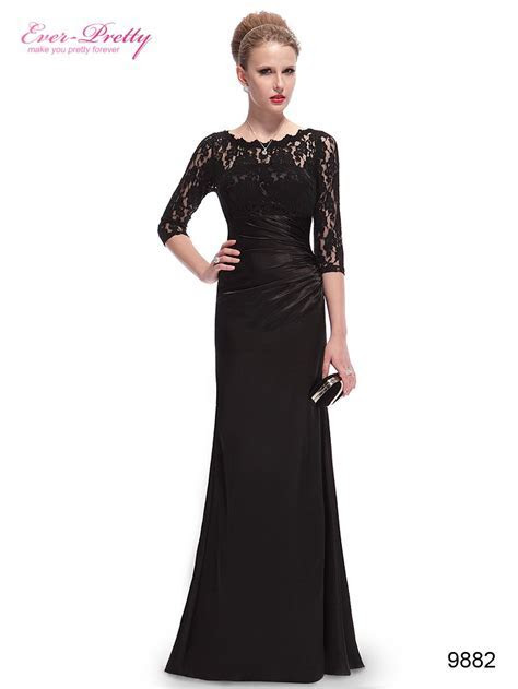 Lace Long Sleeve Formal Evening Dress   Elegant, Black