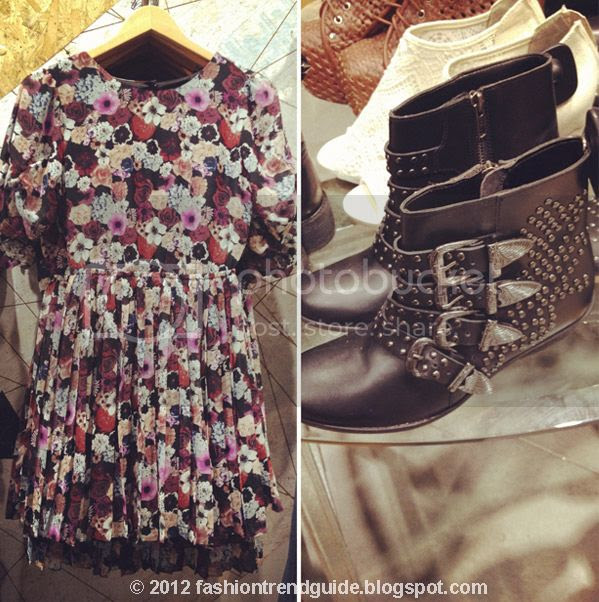Urban Outfitters floral dress, Ecote Kylie studded buckle ankle boots