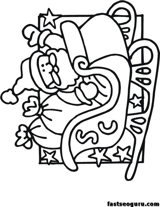 Santa Flying in Sleigh Coloring Page | All Kids Network | 708x547