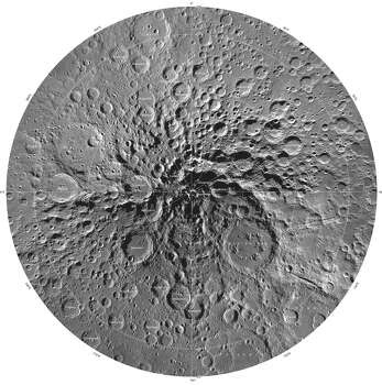 This image is part of a new series of high resolution images of the moon provided by the U.S. Geological Survey. This map of the moon's south polar region is based on data from the Lunar Reconnaissance Orbiter Wide Angle Camera. Photo: U.S. Geological Survey