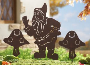 Gnome & Mushrooms Shadow Silhouette Stake
