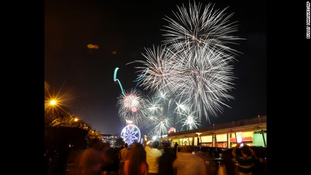 Fireworks light up the sky in Manila, Philippines.