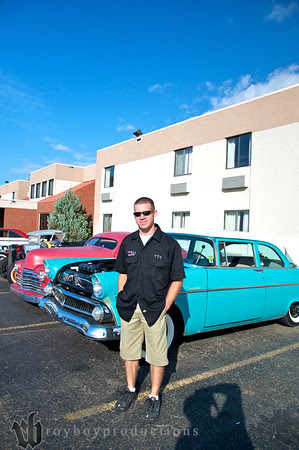 Aaron Lawrence from Fast AL's Upholstery at the host hotel before the Garage Krawl