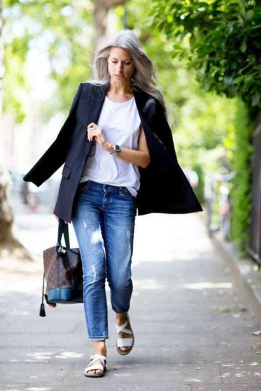 Le Fashion Blog Street Style Sarah Harris Easy Look Black Blazer White Tee Louis Vuitton Tote Bag Cuffed Jeans White Sandals Via