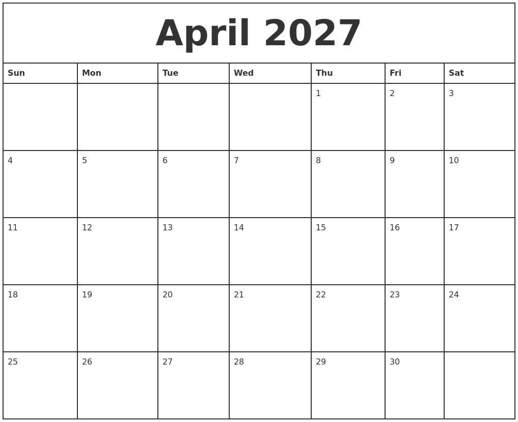 april 2027 printable monthly calendar