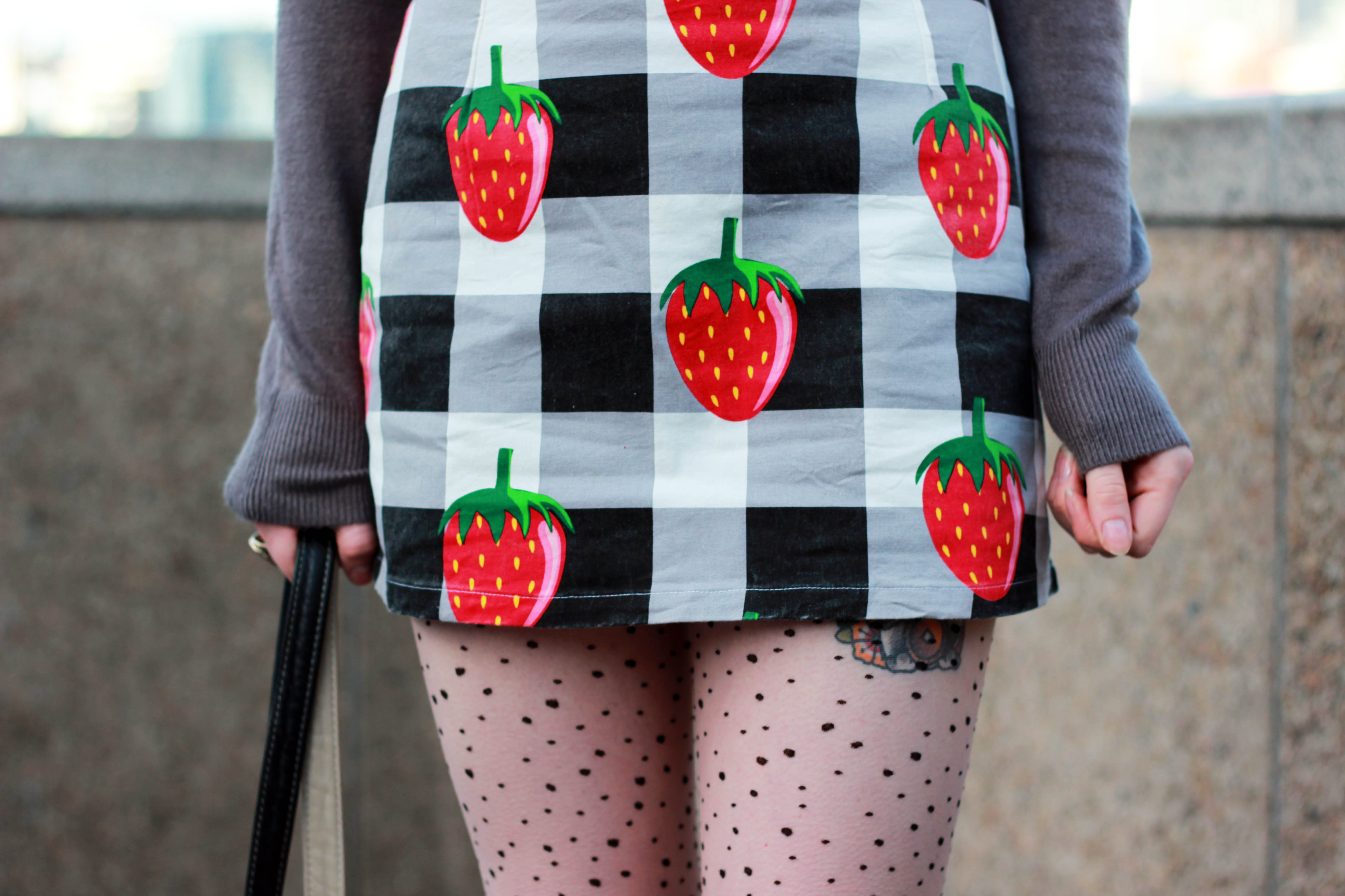 Lazy Oaf strawberry check skirt