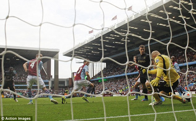 Opener: Yaya Toure squeezed home the first goal for Manchester City as they took the lead at Villa Park