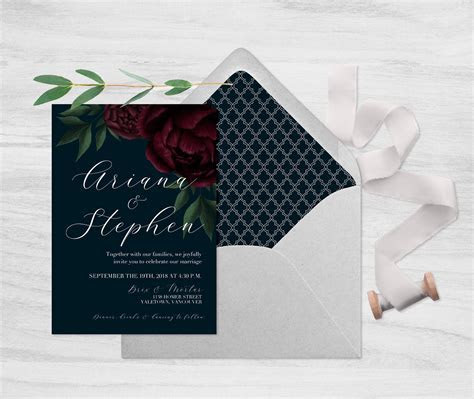 Navy and Floral Wedding Invitation, Moody Dark Floral