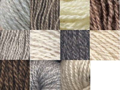 Thumbnail photos of all the Shetland yarns I've spun so far.