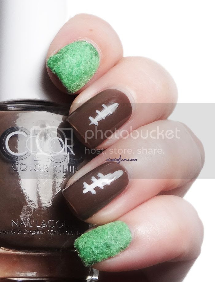 Color Club Fondue For Two Football nail art