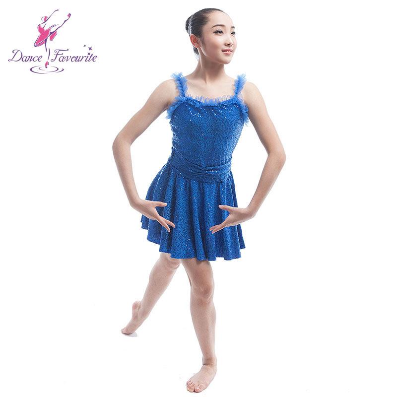 Girls royal font b blue b font sequin dress ballet font b costume b font for