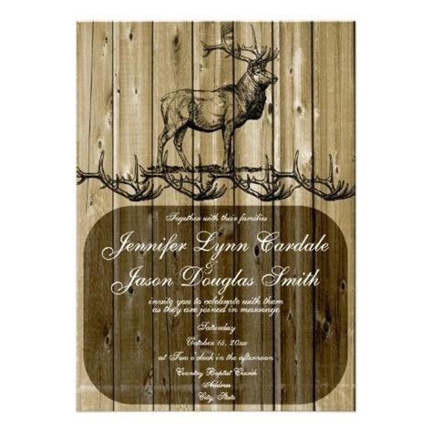 Rustic Elk Wildlife Hunting Wedding Invitations   For d