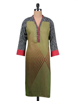 Green full sleeved printed pahmina kurta