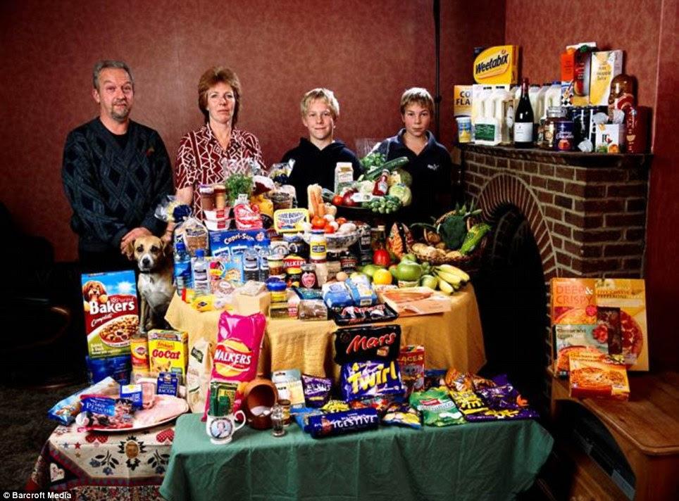Βρετανία: Η οικογένεια Bainton της Cllingbourne Ducis ξοδεψουν £ 155 για την εβδομαδιαία κατάστημα τροφίμων τους.  Μπορούν λίστα με τα αγαπημένα τους φαγητά, όπως αβοκάντο, γαρίδες κοκτέιλ και κέικ σοκολάτας με κρέμα