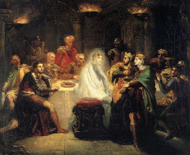 A painting of Macbeth seeing Banquo's ghost