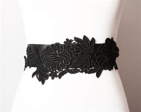 Black Embroidery Lace Flower Ribbon Sash Belt   Posh