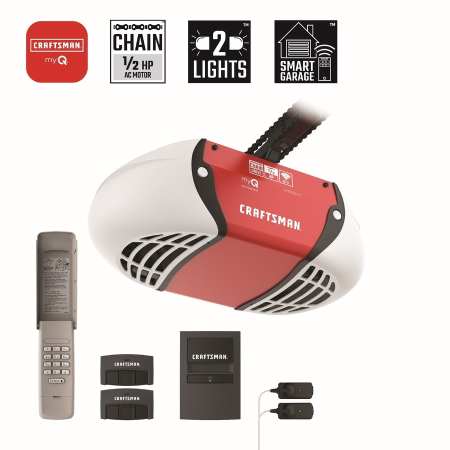 Craftsman 0 5 Hp Myq Smart Chain Drive Garage Door Opener With Myq And Wi Fi Compatibility In The Garage Door Openers Department At Lowes Com