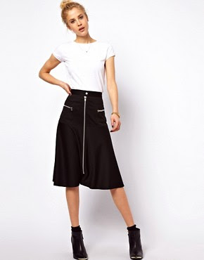 Image 1 of ASOS A-Line Skirt with Chunky Zip Detail