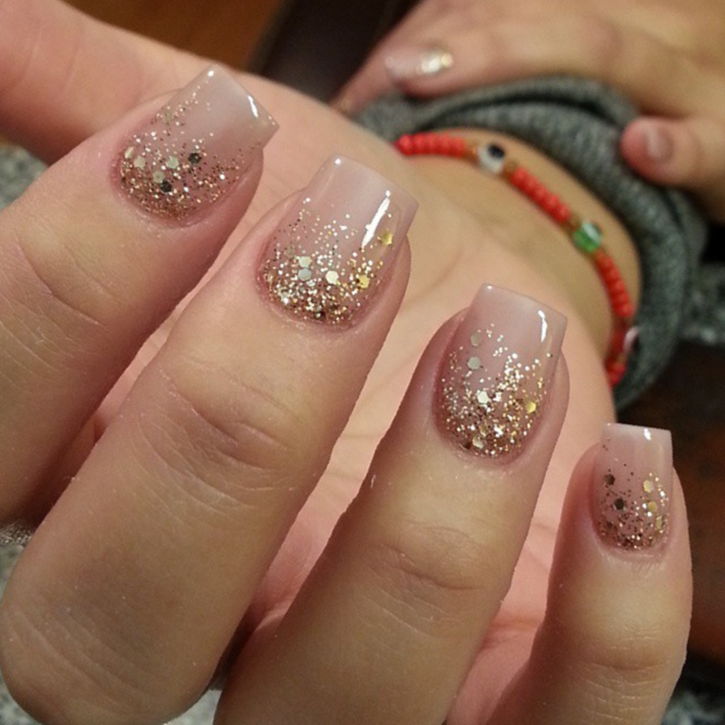Pink Glitter Ombre Gel Nails