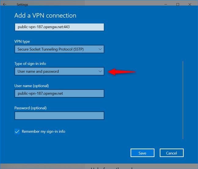 Agregar una conexión VPN: elegir cómo la VPN maneja el inicio de sesión
