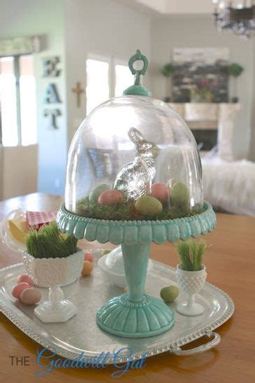 Easter cake stand display. #vintage #thrift #MilkGlass #
