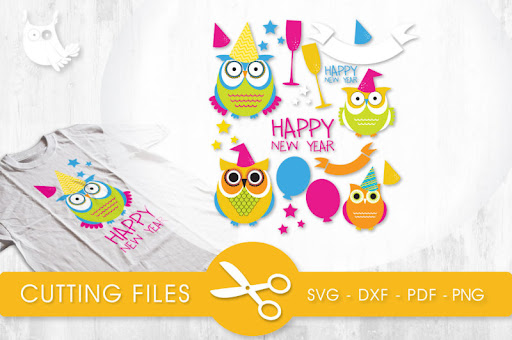 New Year Owls SVG, PNG, EPS, DXF, cut file Scalable Vector ...