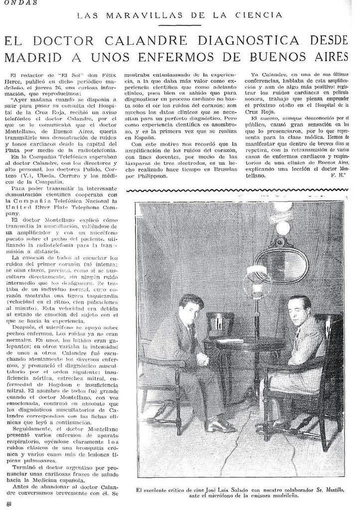 Luis Calandre diagnostica a miles de kilómetros por radio en 1930. Revista Ondas
