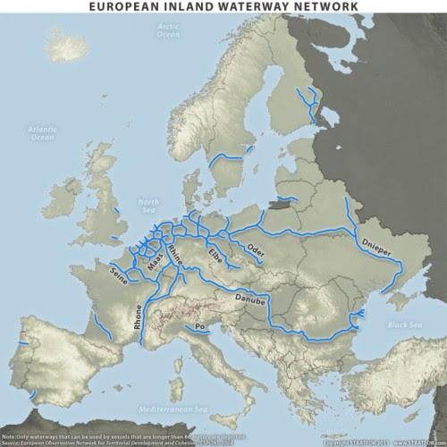 European inland waterway network